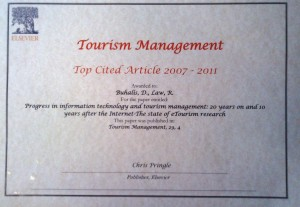 Award for Top Cited Article 2007-2011 by Tourism Management journal.
