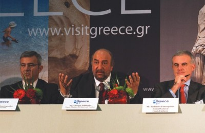 "Deputy Culture and Tourism Minister George Nikitiadis (center) held a press conference during the WTM and mentioned the difficult situation Greece was up against last year due to the economic crisis and other incidents that caused negative publicity. ""All this time the government made an enormous effort on all fronts, the economy, education, entrepreneurship, tourism and investment and was able to restore the country back on track,"" he said."