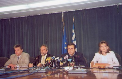 Evgenios Yiannakopoulos, the Hellenic Tourism Organizatio's secretary general; deputy development minister Alexandros Kalafotis; Nikos Christodoulakis, development minister and deputy development minister Milena Apostolakis at their first press conference after recent elections.
