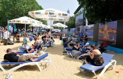 """Greek beach by the Thames"" event in London."