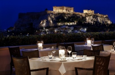 GB Roof Garden restaurant of Hotel Grande Bretagne in Athens, Greece.