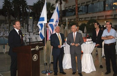 Culture and Tourism Minister Pavlos Geroulanos giving a speech at the Tel Aviv Hilton in Israel during an official visit. He said that he hopes Israelis would continue to visit Greece when the crisis with Turkey is over, even though prices in Greece are relatively higher as it is a member of the Eurozone.