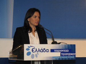 Tourism Minister Olga Kefalogianni during her first official press conference to the media at the Greek National Tourism Organization offices in Athens.