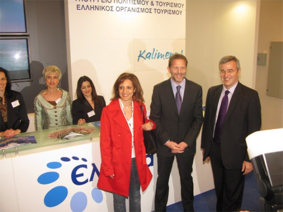 Culture and Tourism Minister Pavlos Geroulanos (center) at the Greek National Tourism Organization's (GNTO) stand during the inauguration of the 15th Touristiko Panrorama. Mr. Geroulanos is accompanied by Sofia Lazaridou, GNTO promotion office, and Nikolas Kanellopoulos, GNTO president.
