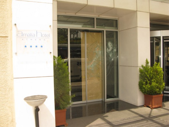 Amalia Hotel on Amalias Avenue, Syntagma Square, was not ignored during the 5 May anti-austerity protest as self-styled anarchists smashed the windows of its front entrance. Security cameras have now been installed at the front entrance.