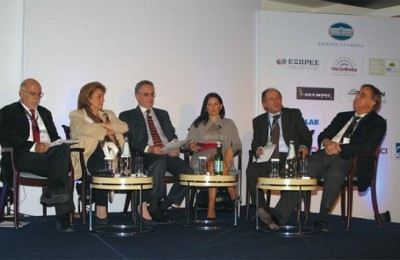 "During the conference, Labor and Social Security Minister Louka Katseli (second to left) said the government's decision to lift cabotage restrictions would boost up sea cruise tourism. However, tourism professionals in the audience agreed that in reality cabotage had not been lifted as the conditions set by the Greek government discourage cruise companies from homeporting in Greece. ""Cabotage restrictions were not completely lifted as the government's conditions are yet another Greek originality that does not exist in any other country,"" New Democracy MP responsible for tourism issues, Olga Kefalogiannis said (center)."