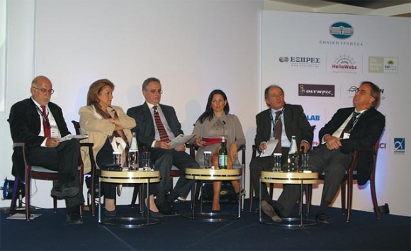 """During the conference, Labor and Social Security Minister Louka Katseli (second to left) said the government's decision to lift cabotage restrictions would boost up sea cruise tourism. However, tourism professionals in the audience agreed that in reality cabotage had not been lifted as the conditions set by the Greek government discourage cruise companies from homeporting in Greece. """"Cabotage restrictions were not completely lifted as the government's conditions are yet another Greek originality that does not exist in any other country,"""" New Democracy MP responsible for tourism issues, Olga Kefalogiannis said (center)."""