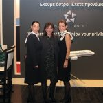 Aegean Airline's Public Relations Manager Roula Saloutsi with flight attendants Sofia Galani and Olga Moshou. Last month the airline announced results for the first nine months of September 2010, according to which revenue declined three percent at 466.2 million euros and the total number of passengers traveling with the airline declined by three percent at 4.9 million.