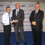 Lefteris Economou (left) received the award for Detto Travel's specialized tourism brochure on wedding trips.