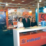 Endeavor Lines' Petros Vasilopoulos with Emmy Pothitou and Tatiana Kontoperaki. The company's stand was honored with a special award by Helexpo.