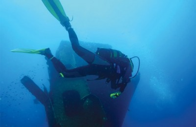 "During his speech, Deputy Culture and Tourism Minister George Nikitiadis referred to the island of Kalymnos - a popular choice for divers due to its long history of sponge diving. The photograph shows a diver who is exploring the shipwreck of the ""Thor Star"" at Cape Roussa on Pserimos, a small island that lies in the waters between Kalymnos and Kos. Photo courtesy of Michael Paou."