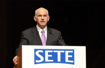 Prime Minister Yiorgos Papandreou addressing SETE's 18th general assembly. Mr. Papandreou received a loud applause from the audience once he announced the government's intention to lift cabotage restrictions. The prime minister also informed on two new projects that total 100 million euros to be launched for the renovation of small tourism businesses with small loans, as well as larger tourism businesses with loans of a larger budget.