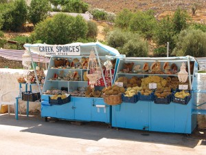Kiosks filled with sponges and shells are everywhere in Kalymnos.