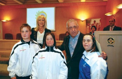 Athens' hoteliers expressed their frustration last month because Joanna Despotopoulou, president of 2011 Special Olympics Greece (seen above with Athens Mayor Nikitas Kaklamanis at a past Special Olympics event), excluded hotels of the city's commercial center from suggested athlete accommo­dation.