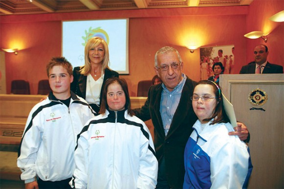 Athens' hoteliers expressed their frustration last month because Joanna Despotopoulou, president of 2011 Special Olympics Greece (seen above with Athens Mayor Nikitas Kaklamanis at a past Special Olympics event), excluded hotels of the city's commercial center from suggested athlete accommodation.