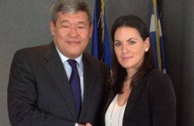 Secretary General of the Ministry of Foreign Affairs of Kazakhstan Rapif Zhoshybayev and Greek Tourism Minister Olga Kefalogianni.