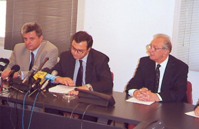 National Tourism Organization Secretary General Evgenios Yiannakopoulos; Development Minister Nikos Christodoulakis; and National Tourism Organization President Yiannis Stefanides.