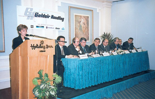 January 2000 - Goldair press conference: Margarita Zambeli presenting the major investors in Goldair Handling: D. Damianos, Alpha Venture; R. Ruppel, Frankfurt Main AG; K. Kavdas, Goldair Handling; Stelios Golemis, Goldair Handling; T. Vassilakis, Aegean Airlines; W. Dressler, GlobeGround; T. Tsovilis, GoldairSA; and C. Hartzanopoulos, KLM.