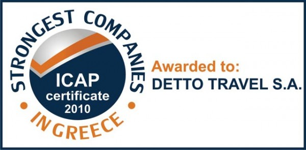 "Detto Travel among ""The Strongest Companies in Greece"" community, according to ICAP Group."