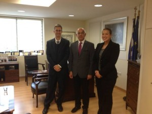 Greek Tourism Ministry Secretary General Tasos Liaskos (center) with economic advisors of the American Embassy in Athens, David Lippeatt and Ms. Scrubert.