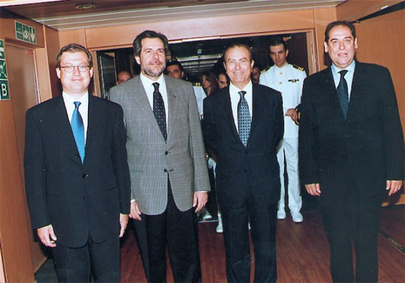 Alexandros Panagopoulos of Superfast Ferries; Merchant Marine Minister Christos Papoutsis; Periclis Panagopoulos Of Superfast Ferries, a major shareholder of Blue Star Ferries; and Gerasimos Strintzis chairman of Blue Star Ferries, during the official launch of Blue Star 1.