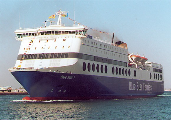The new Blue Star 1 steams into the Port of Piraeus.