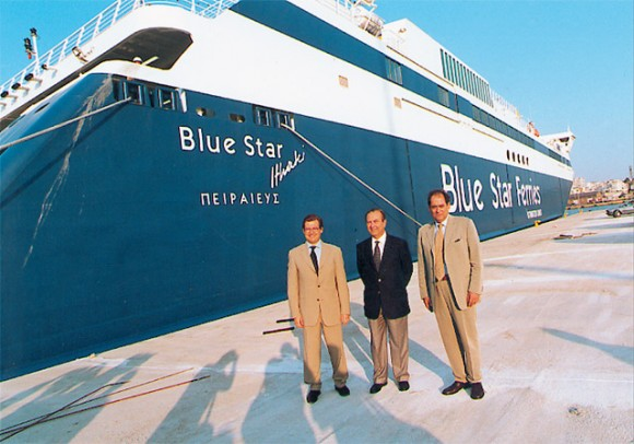 Alexandros Panagopoulos and Periclis Panagopoulos of Superfast Ferries, a major shareholder of Blue Star Ferries, with Gerasimos Strinztis, a major shareholder and chairman of Blue Star Ferries.
