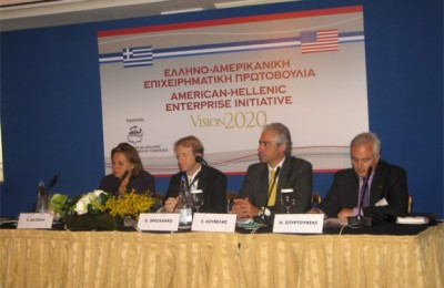Economy, Competitiveness and Shipping Minister Louka Katseli, United States Ambassador to Athens Daniel Speckhard, Deputy Foreign Affairs Minister Spyros Kouvelis, and American-Hellenic Chamber of Commerce Executive Director Elias Spirtounias during the launch of the American-Hellenic Enterprise Initiative (AHEI), Vision 2020.