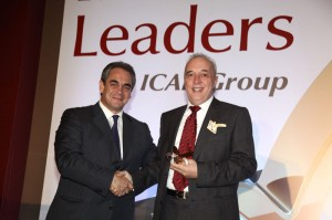 President and CEO of Avis Hellas Alkis Pettas (right) accepting the True Leader award from Konstantinos Michalos, president of the Athens Chamber of Commerce and Industry.
