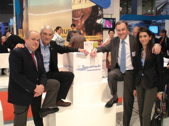 Thessaloniki Deputy Mayor Hasdai Capon, Thessaloniki Mayor Yiannis Boutaris, Thessaloniki Hotels Association President Aristotelis Thomopoulos and Anna Constantinou from the Thessaloniki Municipality at the city's tourism promotion organization's stand at the 17th International Mediterranean Tourism Market (IMTM) in Tel Aviv, Israel.