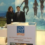 The Hellenic Association of Travel and Tourist Agencies' Vice President Ioannis Papadakis and representative Frini Alexiou at the association's stand. Last month, HATTA was the first professional tourism organization to sign the European Road Safety Charter, a European Commission initiative on road safety in Europe.