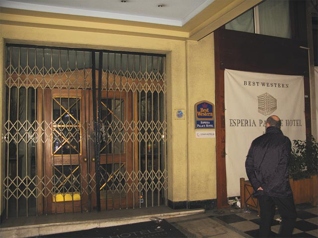 Archive photo of Esperia hotel, locked on Stadiou Street incentral Athens.