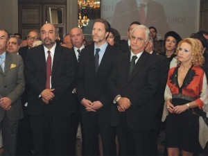 At a joint press conference with Maritime Affairs Minister Yiannis Diamantidis (first from right) at the Seatrade Cruise Shipping Exhibition in Miami, Deputy Culture and Tourism Minister George Nikitiadis (left) underlined that Greek ports are ready to constitute a base for the departure and arrival of non-E.U. flag cruise ships. They are pictured here with Culture and Tourism Minister Pavlos Geroulanos at a past event.