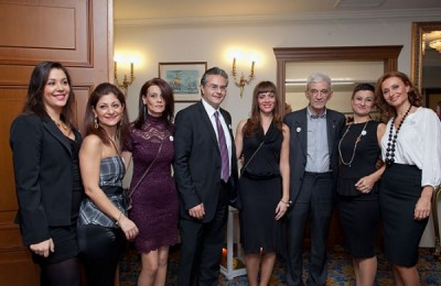The Mediterranean Palace group with Thessaloniki Mayor Yiannis Boutaris (third from right): Dimitra Samara, Dora Stathopoulou, Chrysa Tsountali, Yiannis Aslanis (general manager), Rafaela Tzikou, Katerina Toutziari and Maria Hatziparaschi.