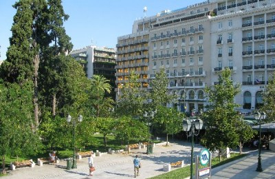 The King George Palace overlooking Syntagma Square.