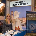 Regional vice governor of the South Aegean region, Eleftheria Ftaklaki, at the South Aegean's stand.