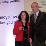 Region of Peloponnese - Regional vice governor Konstantina Nikolakou receives the award from Hellenic Chamber of Hotels President Yiorgos Tsakiris.