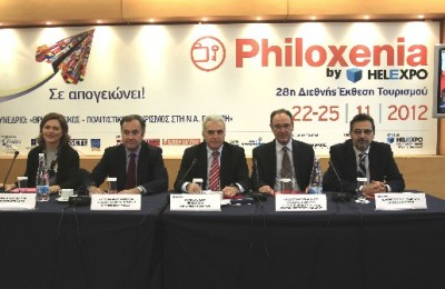 Philoxenia 2012 press conference - Despina Amarantidou, vice president of HATTA; Aristotelis Thomopoulos, president of the Thessaloniki Hotel Association; Paris Mavridis, president & CEO of HELEXPO; Chrysostomos Stamoulis, Chairman of the Theology Department Seminary of the Aristotle University of Thessaloniki; and Yiannis Papakonstantinou, general manager of HELEXPO.