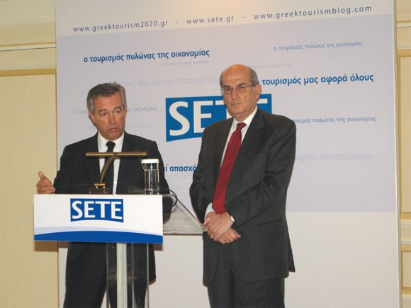 SETE's vice president, Andreas Andreadis and the association's president, Nikos Angelopoulos, during the association's 2010 overview last December. Mr. Andreadis referred to the year's tourism traffic (2010), which he said would close with almost the same percentage of arrivals in 2009 (0.5 percent drop) but with a significant decrease in terms of revenue (seven percent drop). However, in regards to Greek tourism in 2011, Mr. Andreadis said that under certain conditions it is estimated that this year may mark the beginning of Greek tourism's recovery.