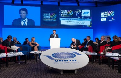 UNWTO Secretary-General, Taleb Rifai speaking at the at the annual UNWTO & World Travel Market (WTM) Ministers' Summit. Reducing visa constraints, simplifying entry processes and developing policies that improve connectivity across borders were the topics on the agenda for the world's tourism ministers to discuss.