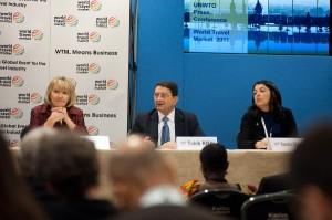WTM 2011 - Ministers Summit Press Conference, Fiona Jeffrey, Taleb Rifae, Sandra Carvao.