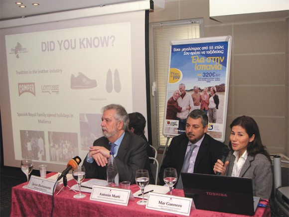 Javier Bustamante, president of tourism and innovation company Segittur (left), accompanied by representatives from Andalusia and the Balearic Islands, during the press conference of the Europe Senior Tourism project.