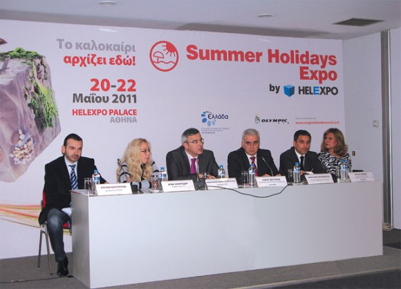 "At Helexpo's press conference, the president of the Greek National Tourism Organization, Nicolas Kanellopoulos (third from left) informed journalists that the Athens Every Week program would increase visits to the Greek capital, as now ""visitors will have many reasons to come to Athens."""