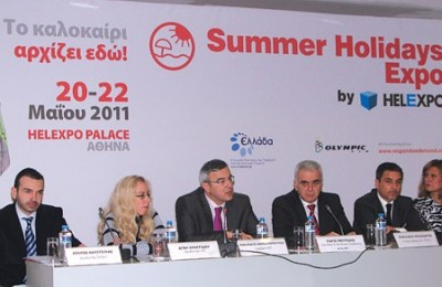 """At Helexpo's press conference, the president of the Greek National Tourism Organization, Nicolas Kanellopoulos (third from left) informed journalists that the Athens Every Week program would increase visits to the Greek capital, as now """"visitors will have many reasons to come to Athens."""""""