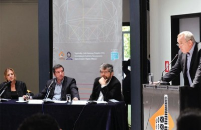 "Greek National Tourism Organization Secretary General Yiorgos Koletsos (right) speaking at the presentation of the Technopolis ""Summer 2011"" program. From left: City of Athens Technopolis Governing Board Chairman Efrosyni Doxiadi, Athens Mayor Yiorgos Kaminis and Technopolis Managing Director Konstantinos Bitzanis."