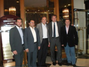 The Greek National Tourism Organization's secretary general, Nikos Karachalios (second from right), with (from left) the Thessaloniki Hotels Association's trustee, Panagiotis Boutsoukis; cashier, Fotios Papadopoulos; president, Aristotelis Thomopoulos; and secretary general, Dimitrios Mousiadis.