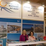 Regional vice governor of Apostolia (Litsa) Likou of the North Aegean region at the North Aegean's stand.