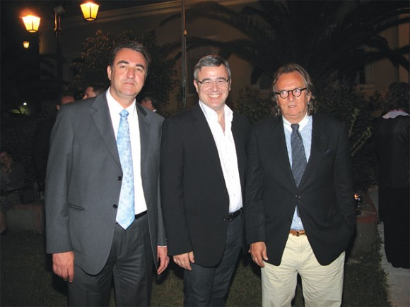Poros Mayor Dimitris Stratigos, Greek National Tourism Organization President Nicolas Kanellopoulos and Hellenic Professional Yacht Owners Association President Antonis Stelliatos at the reception after the launch of the Charter Yacht Show-Poros 2011. The island's mayor strictly reminded the government that Poros is in need of marine tourism and not fish farms. Island locals have expressed their determination through legal means to overturn a joint ministerial decision of seven ministries that approved the creation of an industrial fish farm on the coast of Poros.