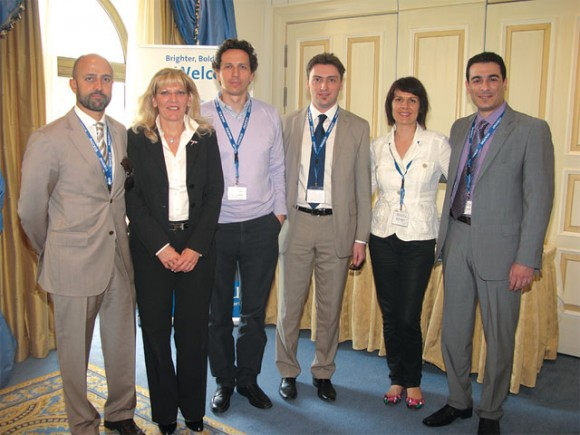 """Ernesto Sanchez Beaumont, Regional South Europe Market Manager Amadeus; Eva Karamanou, Genaral Manager Amadeus Hellas; Stefanos Loukakos, General Manager Google Hellas; Alketas Malioukis, Key Account Executive Amadeus Hellas; Renata Ivankovic, Business Solution Manager Amadeus IT Group; and Manos Markakis, Sales and Marketing Manager Amadeus Hellas, at the company's """"Success in Online Travel"""" seminar held last month at the King George Palace in Athens."""