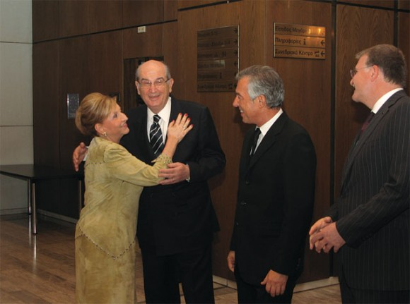 The Association of Greek Tourism Enterprises' (SETE) newly elected president, Andreas Andreadis (second from right), looks on as former tourism minister Fani Palli-Petralia gives her best to SETE's outgoing president Nikos Angelopoulos at the association's 19th General Assembly held last month at the Athens Concert Hall. Speaking earlier, Mr. Angelopoulos said he would continue to support the association's interventions to the government in order to create an attractive business environment for Greek tourism.
